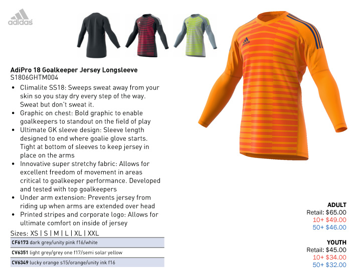 a4bb7a289 AdiPro 18 GK Jersey Youth  From  32.00. Adult  From  46.00