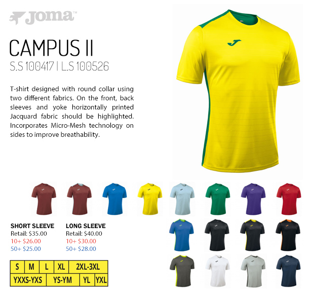 a87de3947 Campus II Jersey Starting at $25.00. Long Sleeve Available, Joma Crew II  Jersey