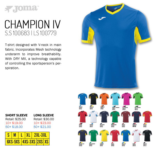 9187d6667ab Champion IV Jersey Starting at $18.00. Long Sleeve Available. Joma