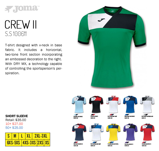 d74f62e5160 Long Sleeve Available, Joma Crew II Jersey