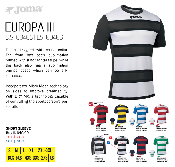 c76ba6c35d8 Europa III Jersey Starting at $28.00, Joma