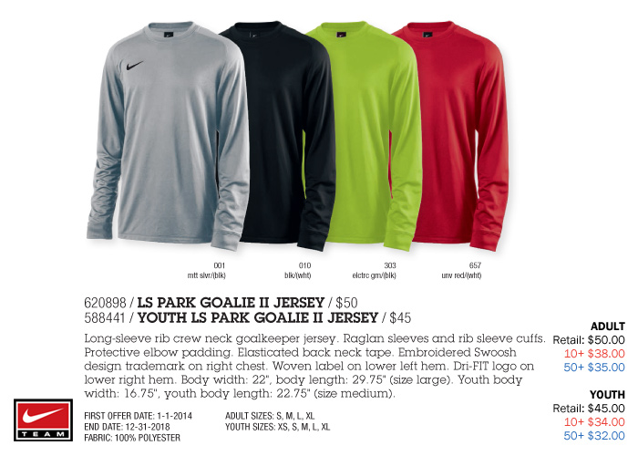 1214a0416 nike youth long sleeve park goalie ii jersey