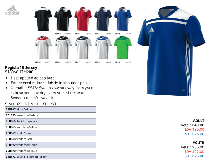 868171946 Regista 18 Jersey Youth: From $25.00. Adult: From $28.00, Adidas