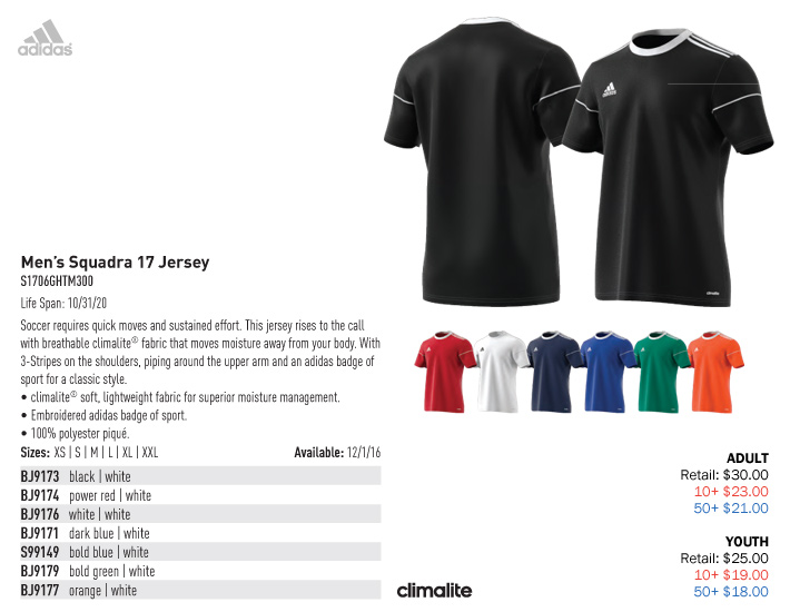 0df8b179d Squadra 17 Jersey Youth  From  18.00. Adult  From  21.000. Adidas