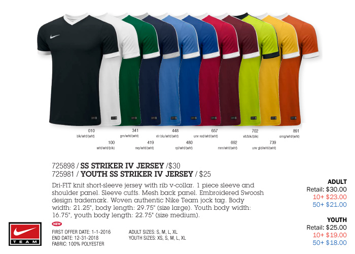 best service 91e1e d9c30 Striker IV Jersey Youth  From  21.00. Adult  From  25.00, Nike
