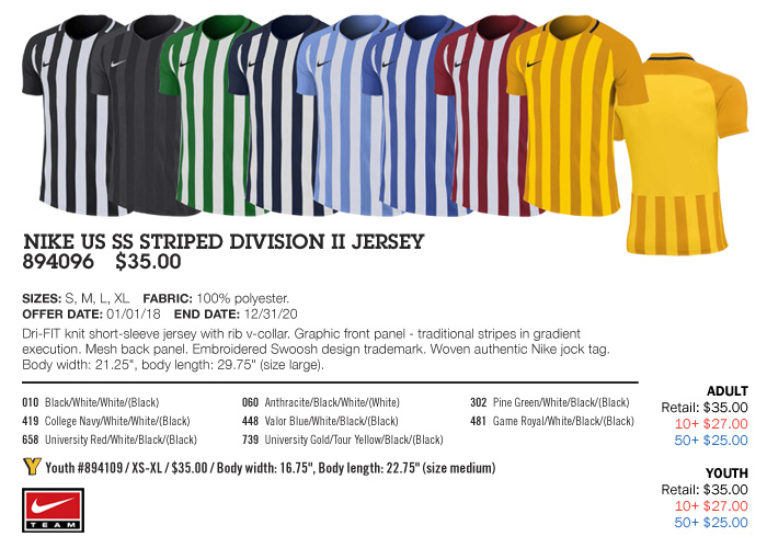 8838a3a93 Striped Division II Jersey Youth: From $25.00. Adult: From $25.00, Nike