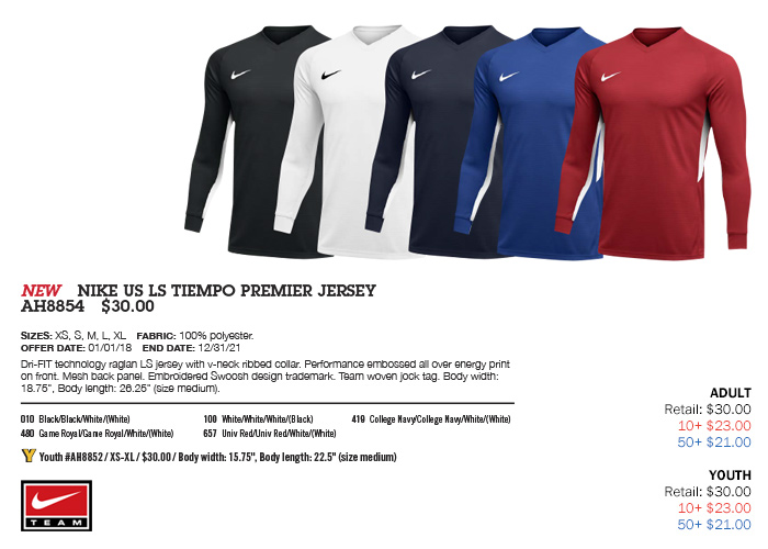 b57928e1f639 Tiempo Premier Jersey Youth: From $18.00. Adult: From $18.00, Nike