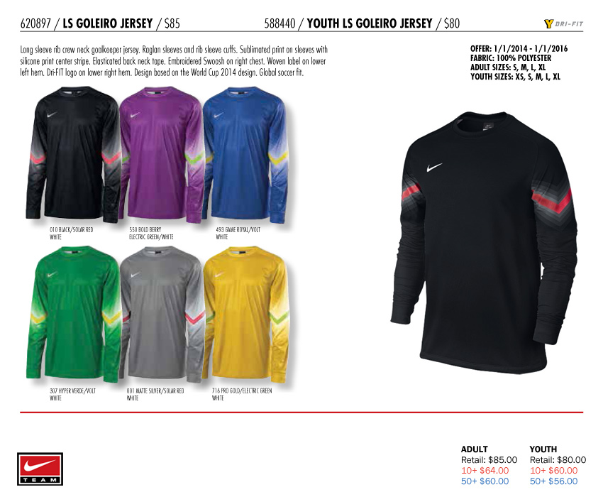 2a3347214 LS Goleiro GK Jersey Youth  From  56.00. Adult  From  60.00. Nike