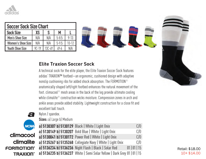 Elite Traxion Soccer Sock From 14.00. Adidas fc59cc4243