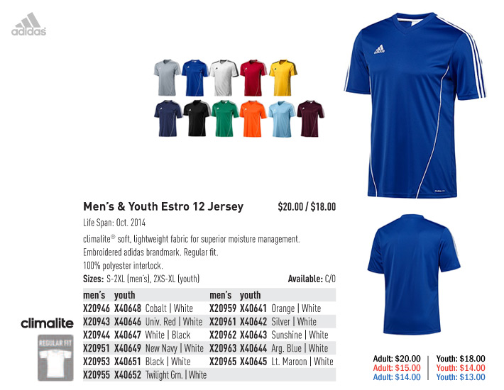 Adidas soccer uniforms 2014