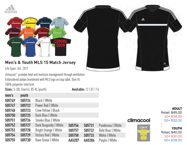 6ac2d2d9be4f MLS 15 Match Jersey Youth  From  28.00. Adult  From  32.00. Adidas